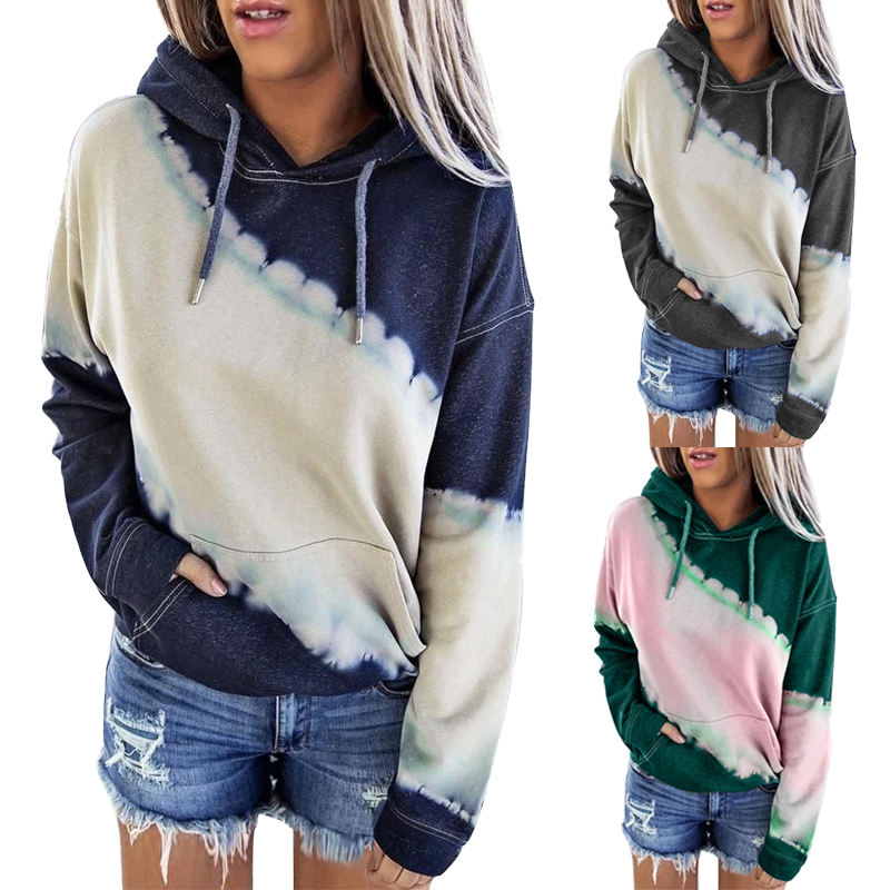 Custom Autumn Winter Clothes Pullover Hoodie Ladies Long Sleeve Tops Femme Pocket Sweatshirt Women Tie Dye Hoodie