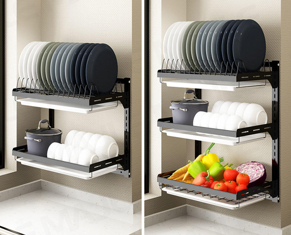 2 OR 3 Layers No Drilling Kitchen Dish Drying Storage Rack Wall Mounted with Knife/Utensil Holder
