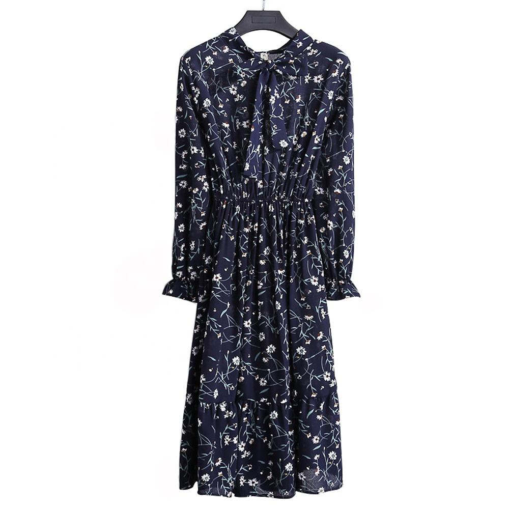 Summer Korean Elegant Spring Dress Long Sleeve Office Print Vintage Dress Women Casual Floral Autumn Lady Chiffon Midi Dress