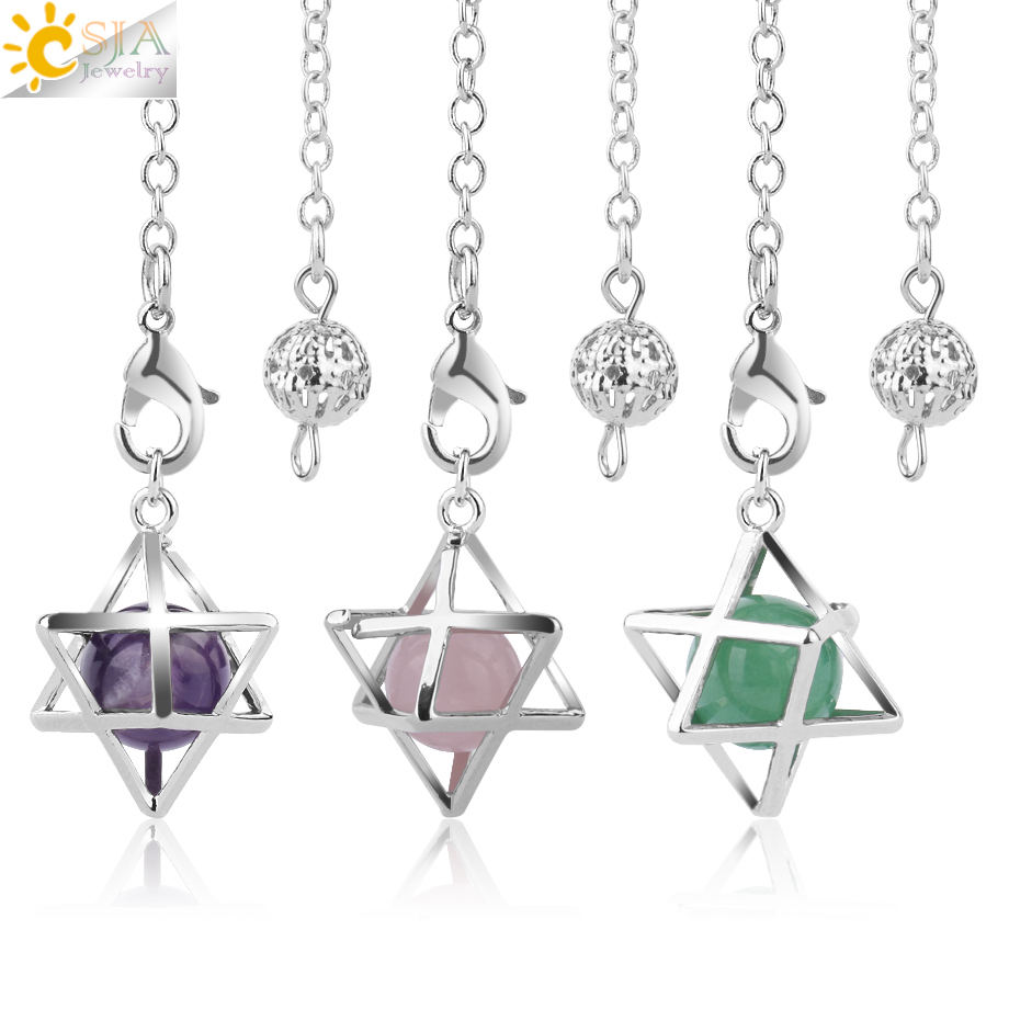CSJA 2020 trendy natural stone merkaba pendulum for wicca drowsing crystal quartz beads pendant reiki jewellery F975