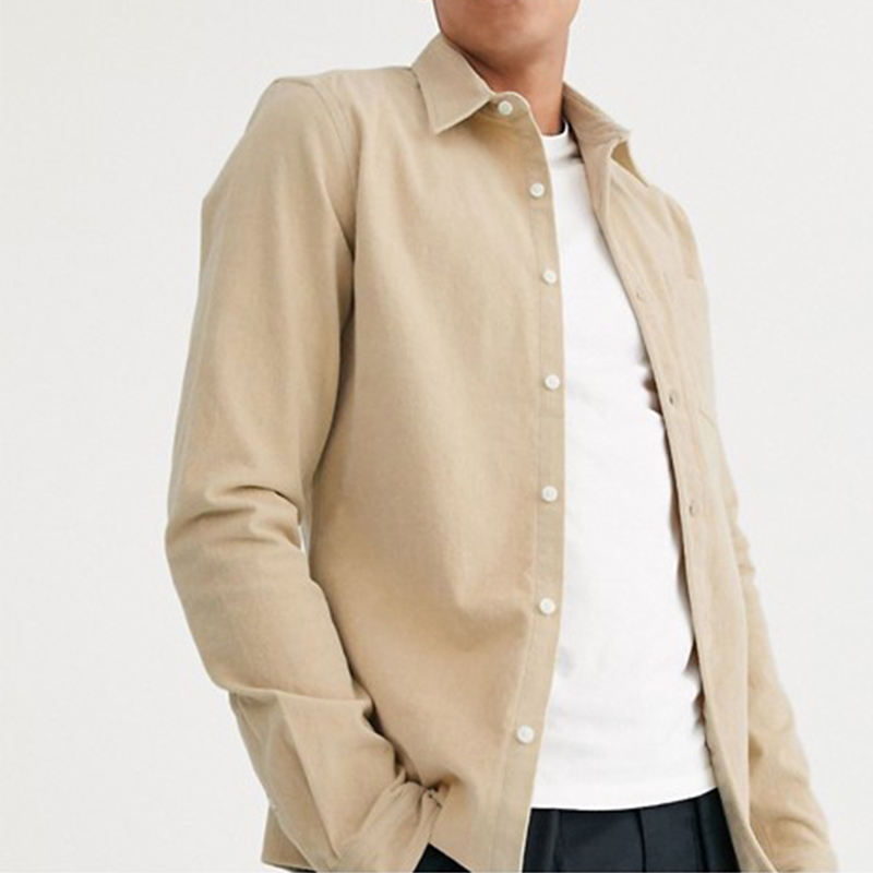 2020 hot selling casual tall stretch slim cord shirt in beige men
