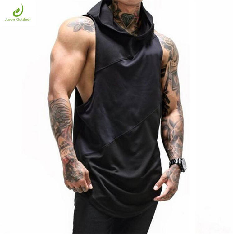 Latest fitness custom stringer hoodie tank top muscle tank top men plain screen printed gym vest for men