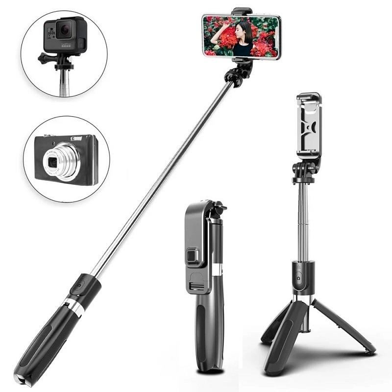 3 in 1 Bluetooth Selfie Stick Monopod L02 Tripod Stand with Wireless Remote Control for Mobile Phone Gopro Camera