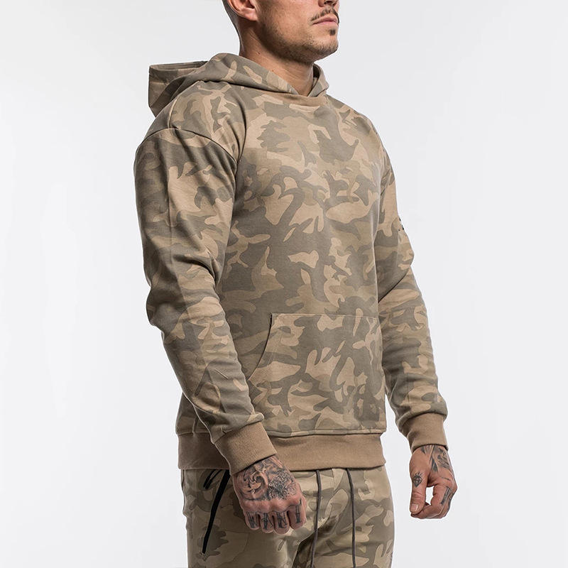 Autumn Gym Hoodies Male Camouflage Long Sleeves T-shirts Men Sports Tops Plus Size Training Tee
