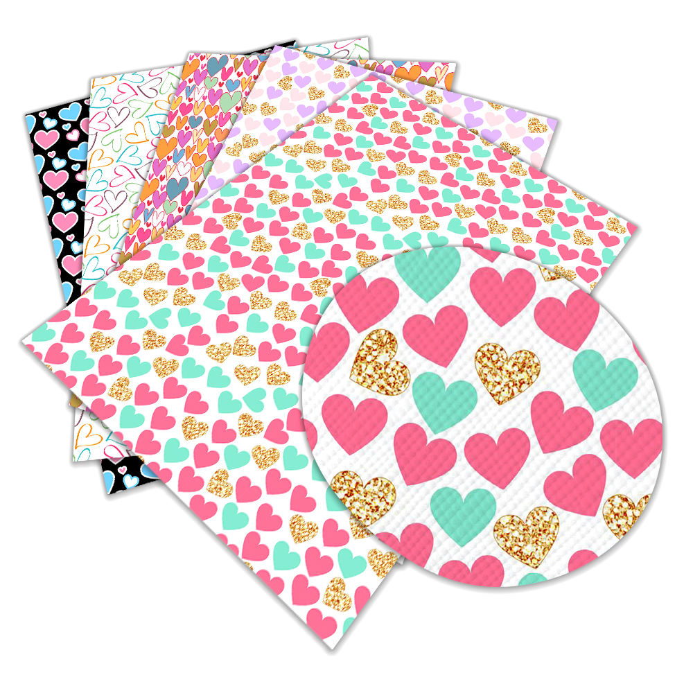Colorful heart Valentine's Day print faux leather Fabric PU Vinyl for Gift boxes