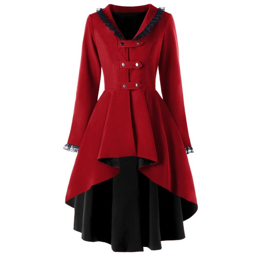 Steampunk Women Fashion Gothic Long Coat Medieval Victorian Tailcoat Jacket Vintage Lapel Long Sleeve Medieval Coat