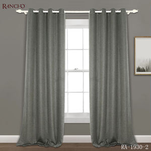 Hot sale products linen look dyeing blackout panel upholstery fabric curtain for meeting room
