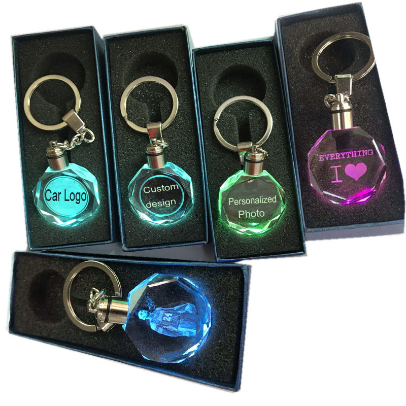 Hot sale Giveaway Gift cheap the led light keychain with car logo engraved