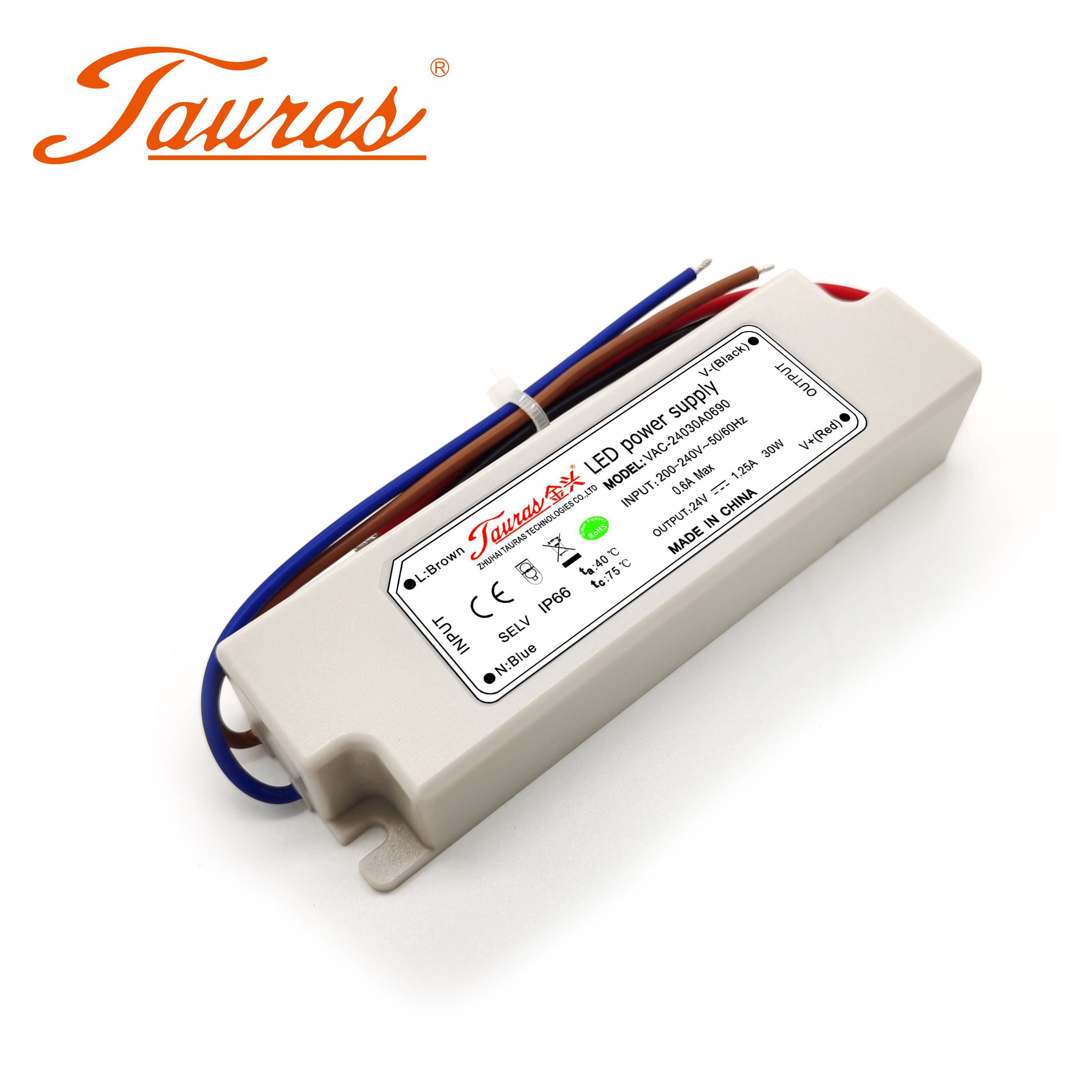 30W LED power supply Output dc 24v 1.25a led driver IP67 outdoor waterproof switching power supply