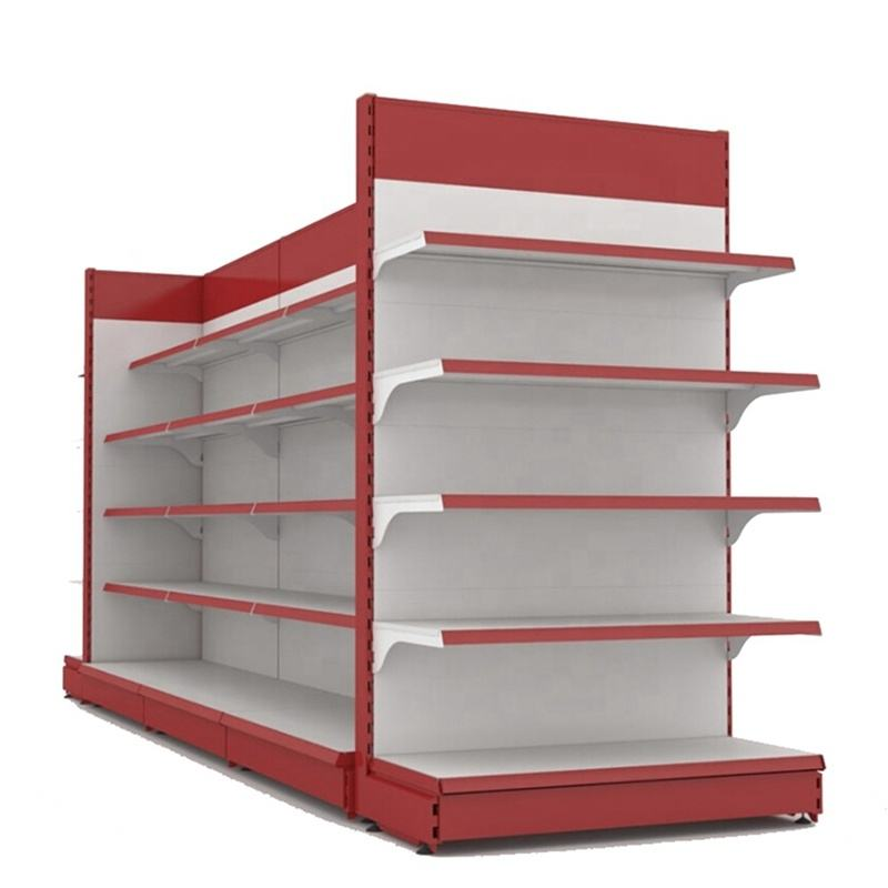 Guangzhou Design Metallic Gondola Shelving Display Stand Wall Mini Racks Red Supermarket Shelf