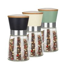 Colorful Plastic Top with Wood Lid Stainless Steel ring Ceramic core Pepper Salt and Spice Grinder with 170ml glass jar