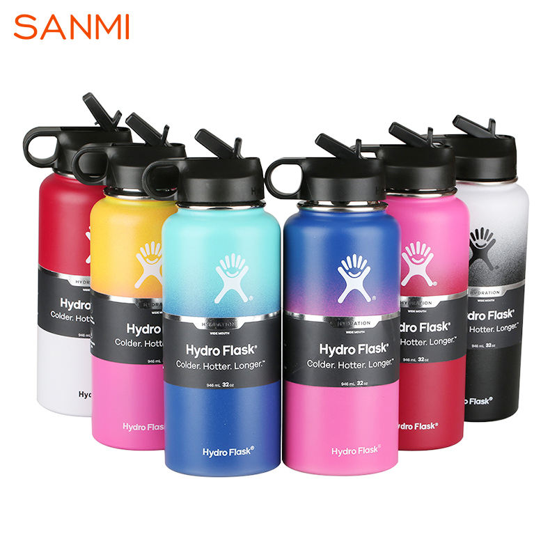 Stainless Steel Water Bottles Hydroflask Vacuum Insulated White and Black Color with Flex Lid And Straw Lid