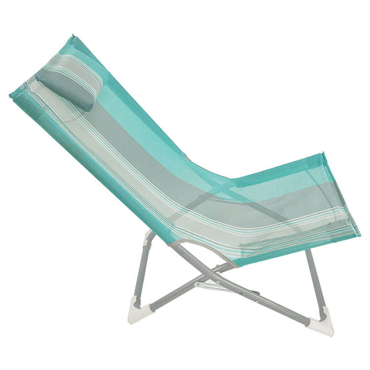 custom OEM high quality seaside aluminum PVC armless folding folable beach chair headrest cushion