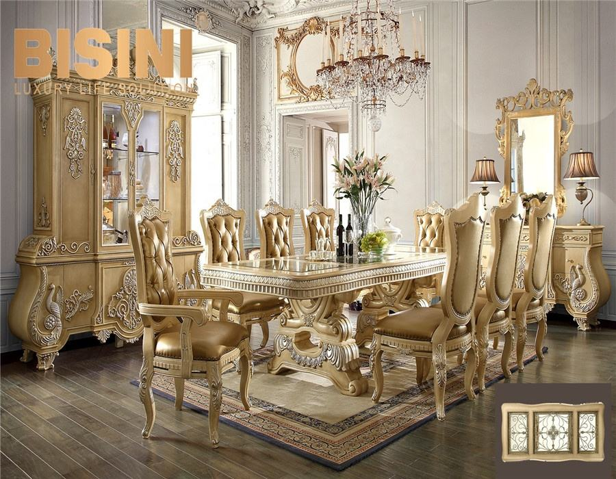 American Luxurious Golden And Brown Wooden Dining Set With Inlay Table Top And Leather Chair