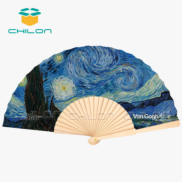 Traditional wholesale wooden paper hand fans with custom logo