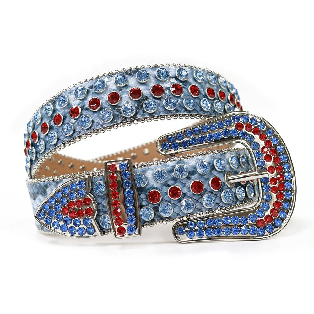 Snake skin western cowboy and cowgirl belt with rhinestone and stone bling bling crystal studded men diamond leather belt strap