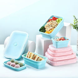 Wholesale Foldable Silicone Collapsible Lunch Box  Food Containers Storage 4 Pcs/Set