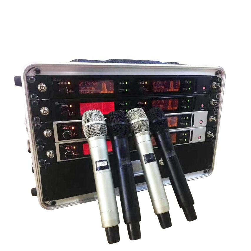 400M FM Dual channel Transmitter UHF wireless microphone 780-820MHZ mic