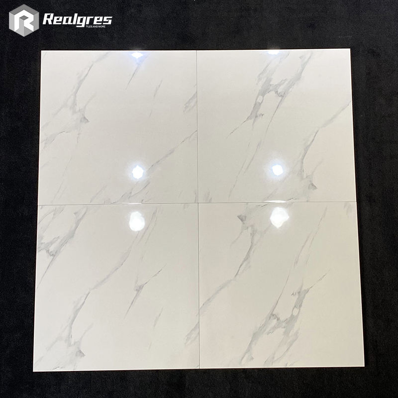 white glossy marble 60x60 floor bathroom porcelain tile