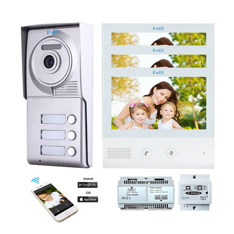 2 way Color Villa Intercom System 7 inch monitor video door phone for smart door wired doorbell intercom