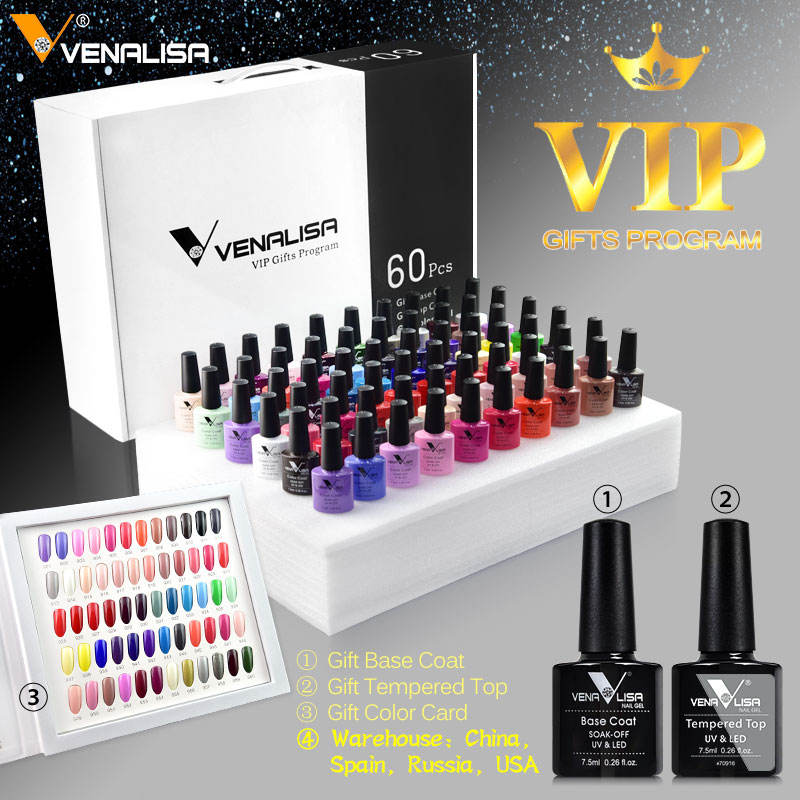 2021 Newest Venalisa Acrylic Nail Gel Polish Learner UV Gel OEM Whole Set 60 Color Gel Nail Polish Private Label Nail Polish kit