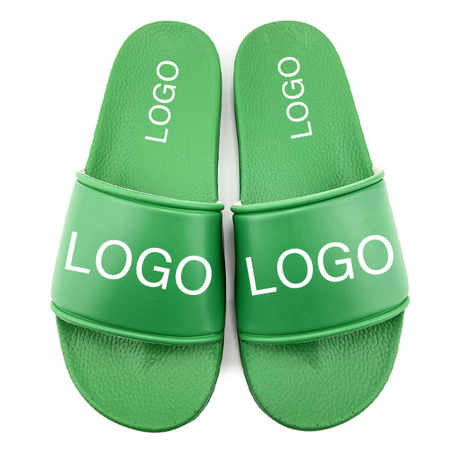 Greatshoe wholesale custom logo slide sandal men green PVC slipper,printed slippers for men leather