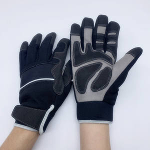 HY Leather Palm Impact Anti Vibration Gloves Arthritis Durable Padded Glove With Seamless Index Finger