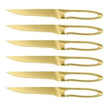Custom design   steak knives gold in  forged kitchen steak knife set
