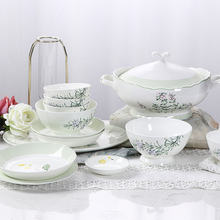 2020 New product green and white hotel used porcelain tableware elegant flower shaped ceramic dinnerware+sets