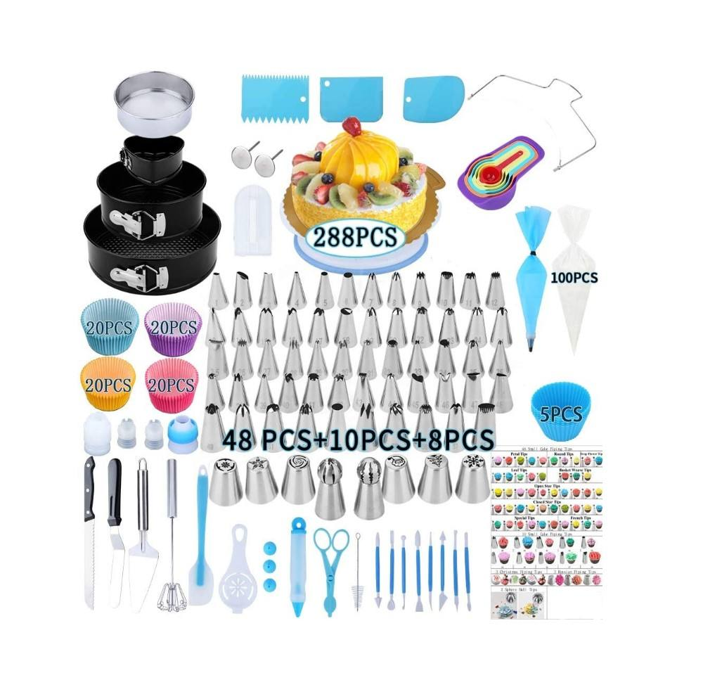 288 PCS Cake Decorating Supplies,Springform Pan Sets Icing Piping Russian Nozzles Cake Rotating Turntable Piping Bags Muffin Cup