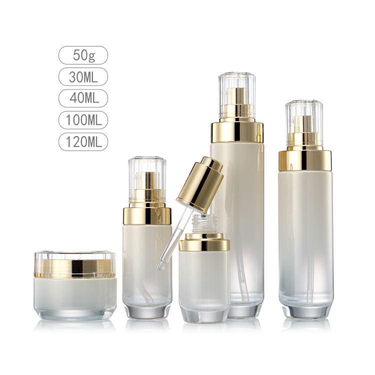 Luxury cosmetic bottle eco skin care packaging set 100ml glass cosmetic dropper pump bottle for sale