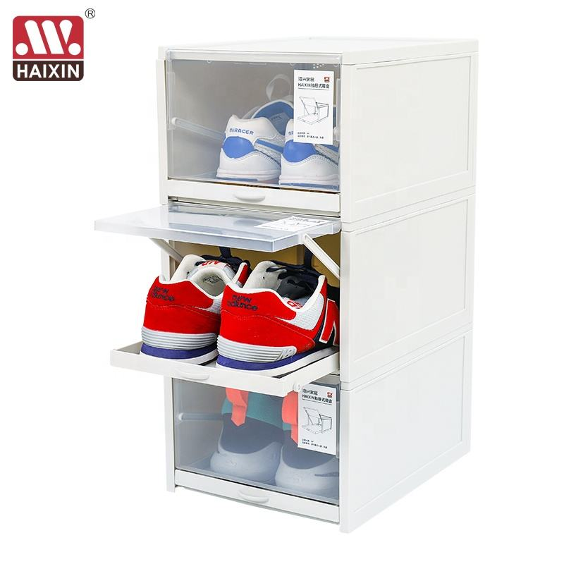 Haixin 3 Large Size Easy Assembly plastic shoe box transparent Drawer Storage Shoe Box For Men