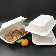 Wholesale ecological food container disposable togo lunch box biodegradable sugarcane bagasse bento box for fried chicken