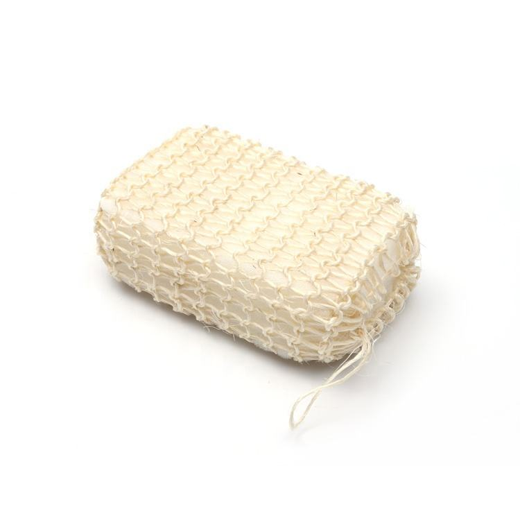 High quality natural eco friendly soft body shower Sisal brush hemp loofah soap bag Foam bath sponge