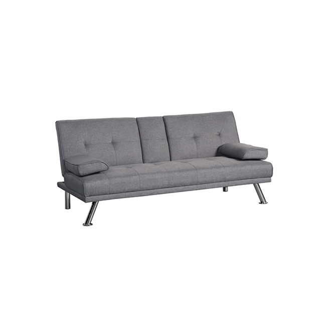 Living Room Sofa Modern Style Fabric Linen Grey Convertible Folding Sofa Bed