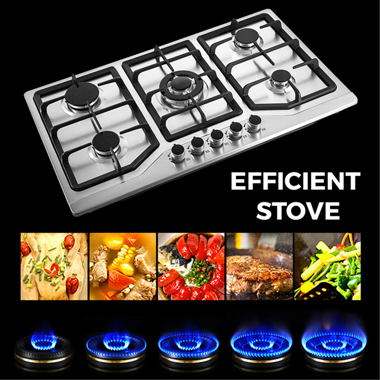 Europe high quality black glass gas stove 5 burner cooker in 86cm cooktop