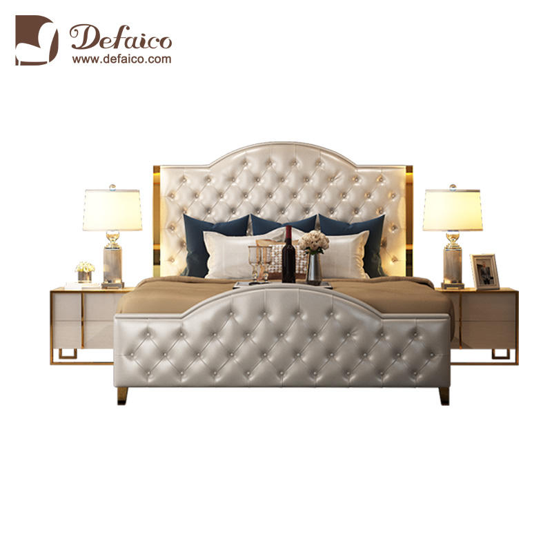 Modern Luxury Stainless Steel Edge White Genuine Leather Chesterfield Button Tufted King Size Double Bed