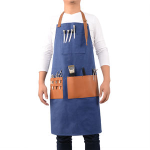 Heavy duty waterproof canvas kitchen BBQ apron garden painting work apron with tool pockets
