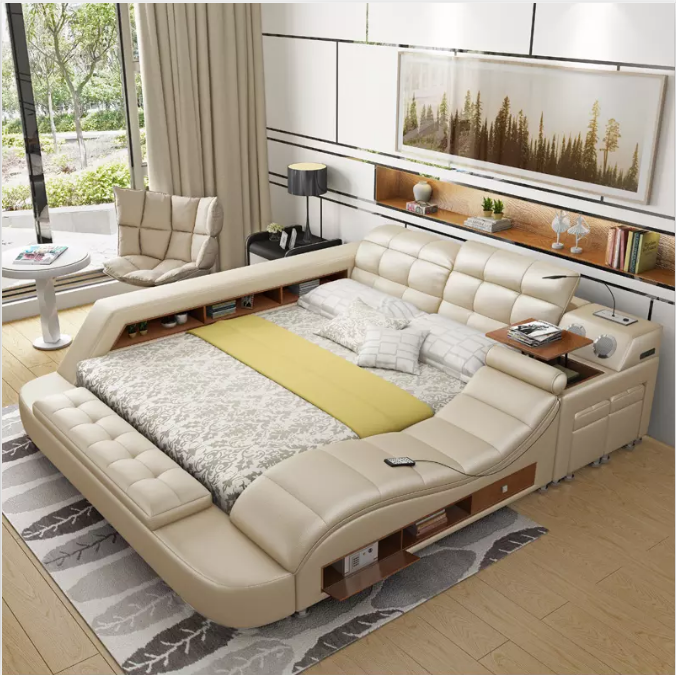 Multi-functional storage modern king size storage leather beds