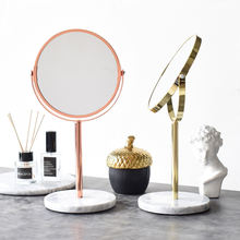 Mirror Marble Beauty Dressing Round Table Cosmetic Rose Gold Glass Standing Decorative Furniture Make Up Vanity Makeup Mirror
