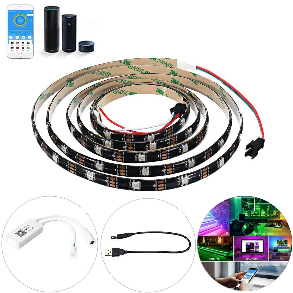 RGB 5050 5V WS2812 Programmable USB LED Strip Light 5m 30 Bits Per Meter for RC Drone FPV Racing Multi Rotors