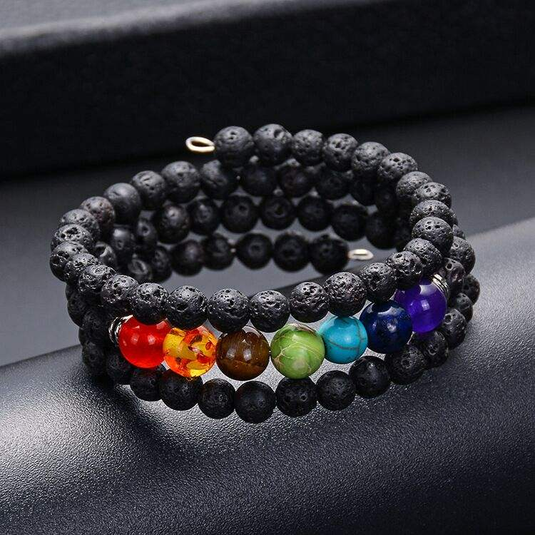 Black Lava 7 Chakra Bracelet Natural Stone Beads Gold Plated Beads Bracelet Volcanic Stone Bangles Wedding WOMEN'S MEN'S Party