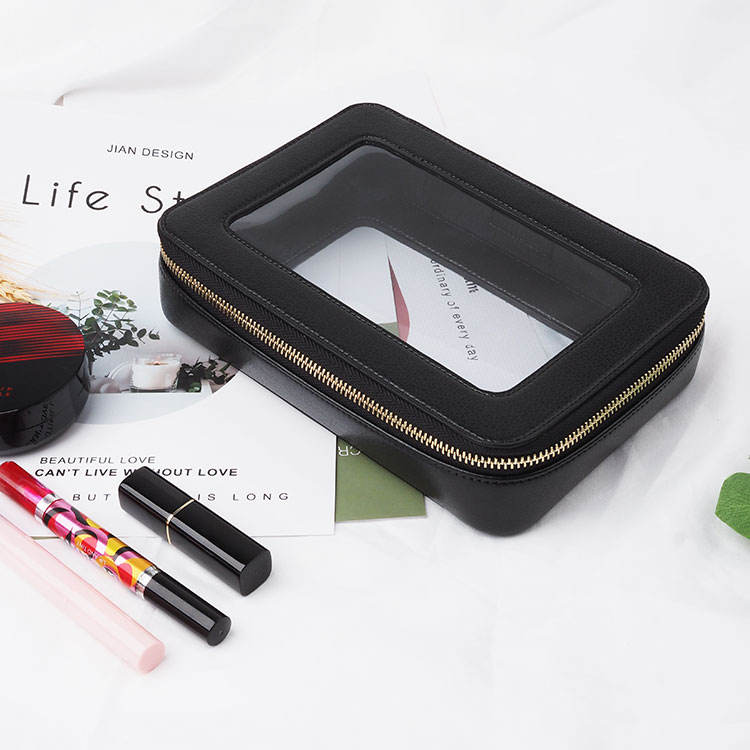 Luxury Personalized Clear PVC Leather cosmetic case bag pouch travel toiletry bag