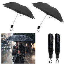 "36"" Mini Portable Compact Emergency Weather Travel Black Folding Umbrella"