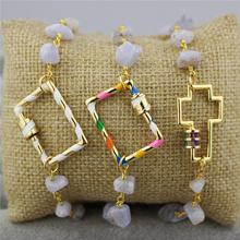 CH-CKT0338 Enamel screw clasp charm bracelet,agate chain with colorful enamel charm bracelet,fashion jewelry wholesale