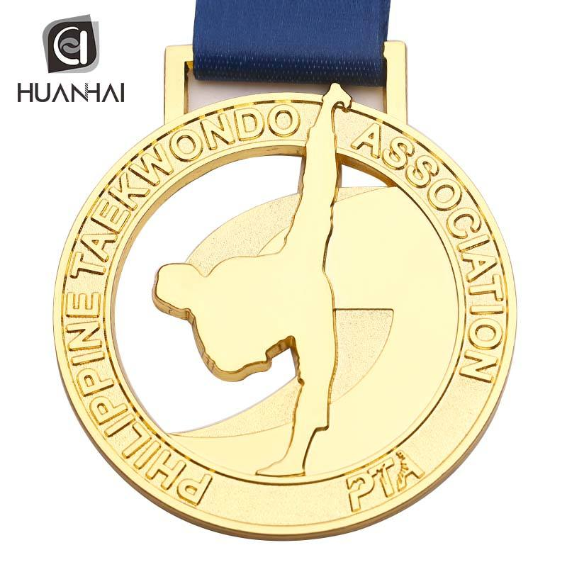 oem factory Philippines taekwondo association die cut gold medal