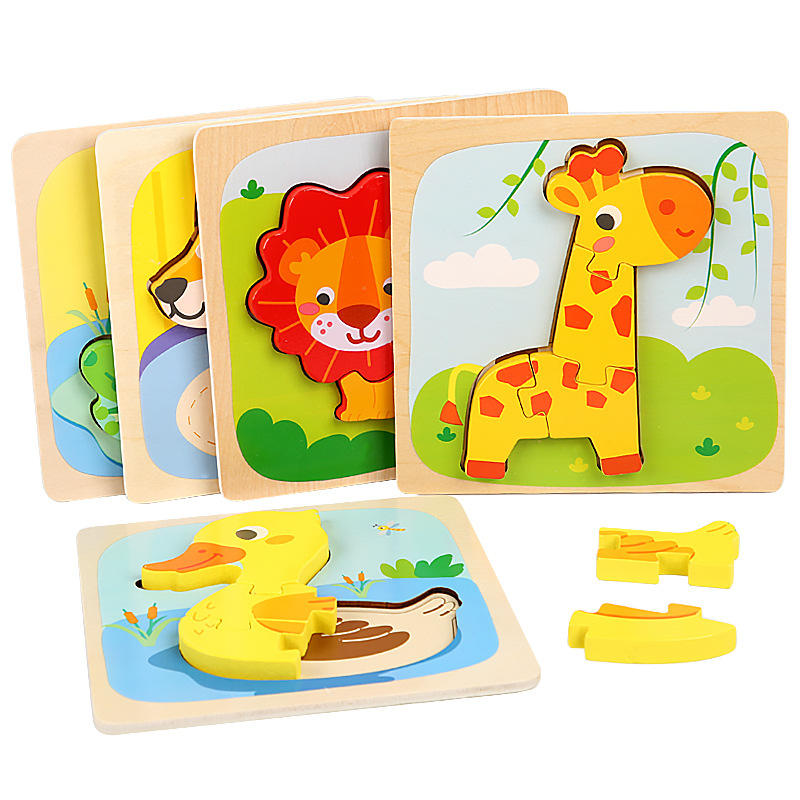 educational puzzle 3d wood animals puzzles children wooden puzzles game