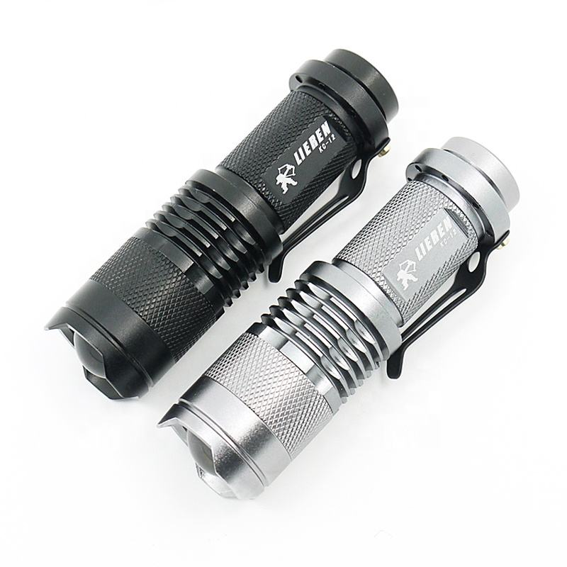 Mini Torch Saku Aluminium Zoom Senter LED dengan Pena Klip