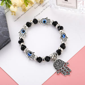 Wholesale fashion Jewelry Hamsa Hand Charms Pendant Stretch Beads Bracelets for Gift