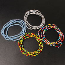 Fashion handmade multilayer beaded anklet long woven seed beads bracelet